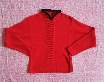 Vintage 1940s Red Bouclé Knit Sweater - Dolman Sleeve Pinup Style Sweater