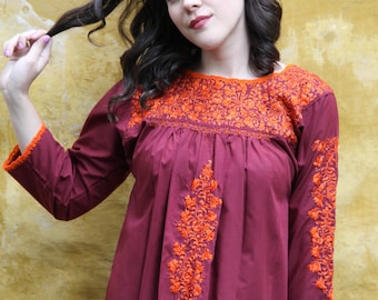 Long sleeved Burgandy and orange embroidery Mexican Wedding Blouse