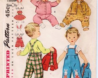 Baby Overalls Pattern Baby Jacket Pattern Baby Bonnet Pattern SIMPLICITY 4417 size 6 months 1950s Toddler Pattern Vintage Baby Pattern