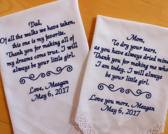 Parents of the Bride-Set of 2-gift from the Bride-Wedding Handkerchief-EMBROIDER,CUSTOMIZED-Wedding Hankerchief-from daughte4,MS1LS0F23SV115