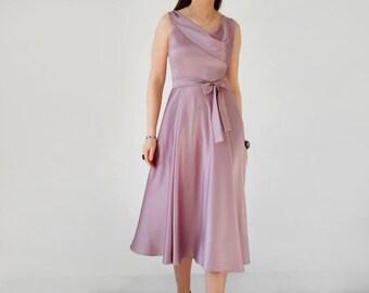 silk satin dress, antique rose, grey, black, ivory, draped satin, silk swing dress