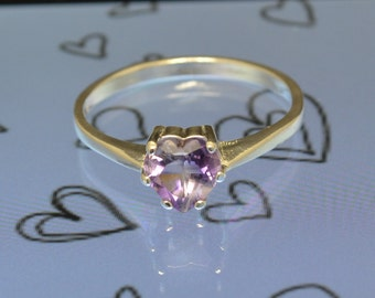 Amethyst Heart Ring Amethyst Ring Amethyst Heart Gemstone Ring February Birthstone Ring Purple Amethyst Heart Cut Ring Size 7 Ring