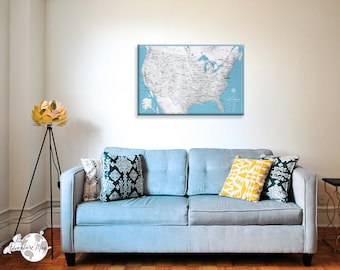 United states map Travel Map / US Travel Map With Pins / Family Travel map / Inspirational Map / Gifts For Him