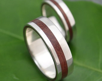 Equinox Nacascolo 14k White Gold Wood Ring - ecofriendly wood wedding band, 14k white gold wood wedding ring