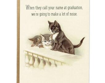 Funny Graduation Card; Vintage Cats; Cute Graduation Card; Class of 2017; Graduation Humor; Card for Grad; High School; College Graduate