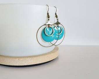 Creole earrings graphic circle and round turquoise blue enamel