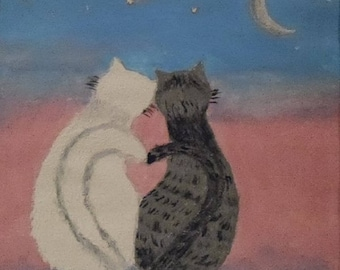 Small painting the cats in love