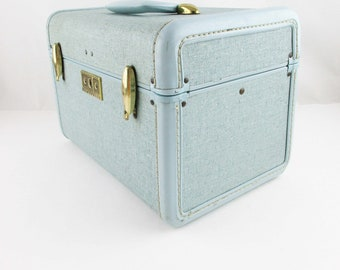 Vintage 'Samsonite' Traincase - Style 4512 - Aqua Blue Silver Sparkle Hardbody - Metal Trim - Traincase - Cosmetic Case - Overnighter