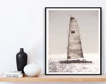 Sailboat Print, Printable Sailboat, Modern Minimalist, Printable Wall Art, Digital Download, Beach Photography, Sailboat Poster, Sailboat