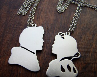 Disney couple Snow White and Charming  pendant  in white bronze or brass , handmade by hand sawing ,disney jewelry