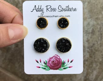 12mm gold druzy mommy and me stud set, druzy studs, druzy earrings, gold druzy, matching earrings