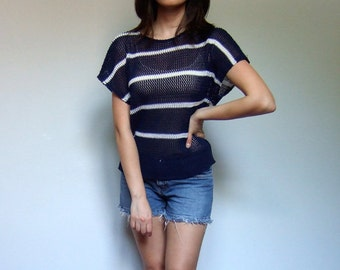 Striped T Shirt Nautical 80s Knit Top Navy White See Through Top Back to School - Extra Small Medium XS S M