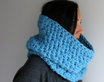 Cozy Wool Blend Baby Blue Bella Cowl, Baby Blue Neck Warmer, Winter Fashion Accessories