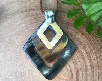 Triple Square pendant necklace,  Horn Pendant, Pendant Necklace, Pendant for Women, Handmade necklace, Gift for her, HPN-012
