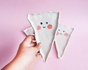 Kawai Pizza Ceramic Plate, Kawai Pizza Hand-Built Plate