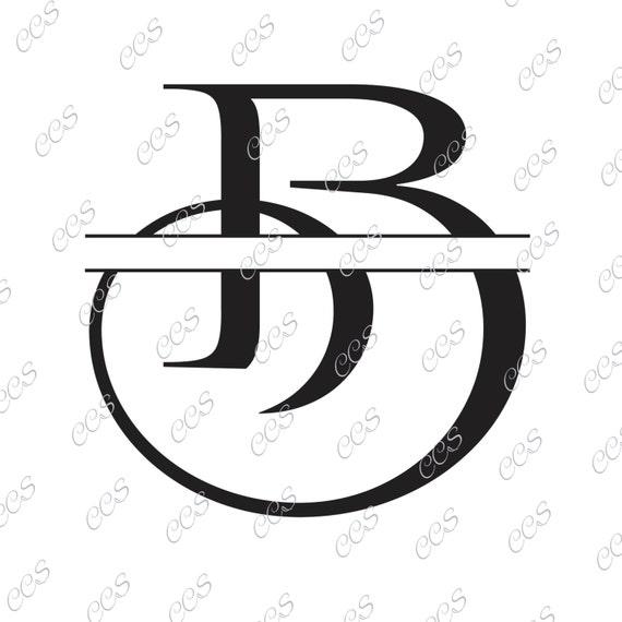 digital cut file split letters letter b b monogram