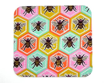Mouse Pad - Fabric mousepad - Multicolor bees hot pad - Home office / computer - Christmas gift idea
