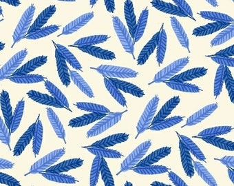 "ORGANIC Fat Quarter (18""x 22"") Cotton Blue Feathers on White designed by Carolyn Gavin for Windham Fabrics Flower Pedals collection"