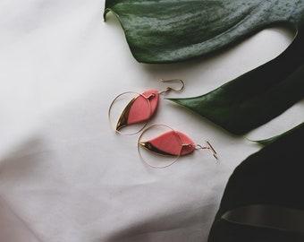 Ceramic Earrings   Leaf Earrings   Pink Earrings