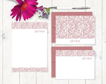 complete personalized stationery set - STENCIL FLOWER VINES - personalized stationary - note cards - notepad - gift set - choose color