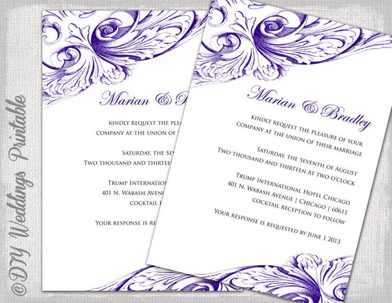 Wedding invitation template Eggplant DIY wedding invitations