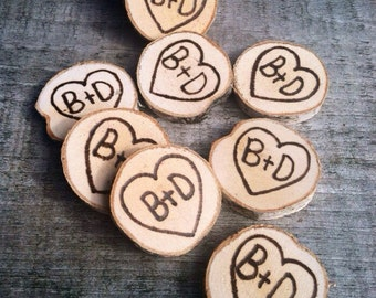 100 Small wood slice rustic wedding favors.