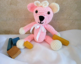 Teddy Bear, crochet stuffed animal, amigurumi bear, plushie toy, pretend play, gift for girls, nursery accessory, new baby present