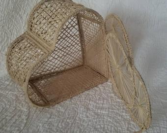 Vintage straw HEART BASKET