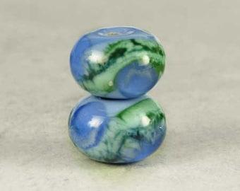 Blue Green Handmade Glass Lampwork Bead Pair, Glass Beads, Lampwork Beads, Periwinkle, Sky Blue, Handmade Beads, 2 Glossy 11x7mm Bluebell