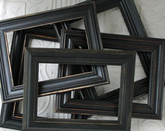 Black Picture Frame Your Choice Size & Style Black Hand Painted Distressed Frame Set Made To Order