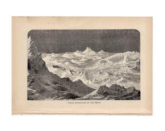 1884 MOON LUNAR SURFACE antique engraving - ideal landscape of the moon original antique celestial astronomy print