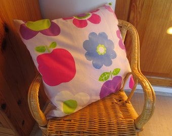 decorative pillow fabric printed flowers and apples, very colorful and cheerful