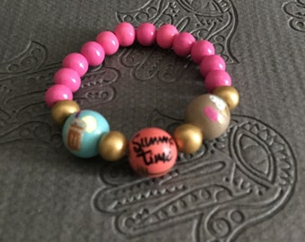 Hand painted bead bracelet. Each bead hand painted.