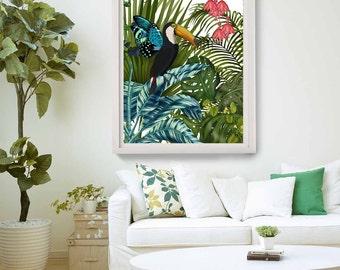 Tropical Print - Toucan in Tropical Forest - tropical wall art tropical decor beach house decor bird print bird wall art painting colourful