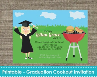 Graduation cookout etsy graduation cookout party invitation diy printable filmwisefo Images