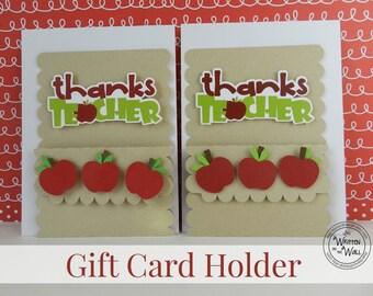 KITS Apple Thanks Teacher Gift Card Holders /Teacher Appreciation  / Teacher Appreciation Gift Ideas / Gift Cards /Teacher present