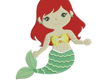 Princess Little Disney Mermaid Mermaids Under the Sea EMBROIDERY Design Fill Design Instant Download EN2045F2