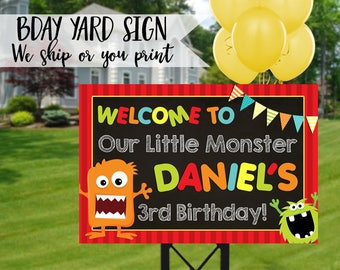 Monster Party Sign, Monster Birthday Sign, Monster Welcome Sign, Monster Yard Sign, Little Monster Sign, Monster Mash Welcome