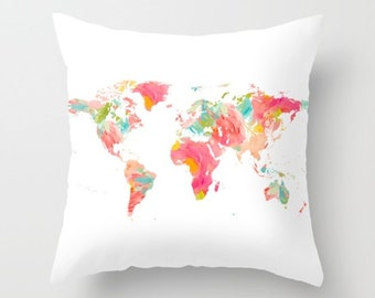Continents pillow etsy search results favorite favorited add to added world map pillow gumiabroncs Choice Image