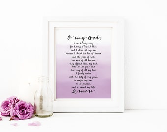 Act of Contrition Printable Wall Art Purple Ombre Confession Prayer Print Lent Print Act of Contrition Prayer Catholic Lent Printable Decor