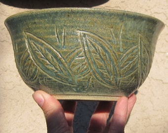 Serving Bowl in Green with Leaves Hand Carved on outside - Unique Handmade Pottery