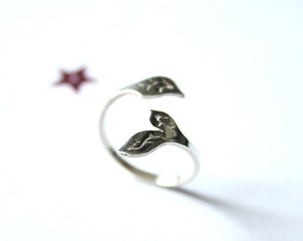 Vegetal ring sterling silver polished finish
