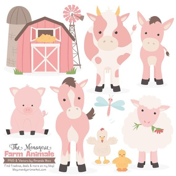 Premium Soft Pink Farm Animals Clip Art Amp Vectors Soft Pink