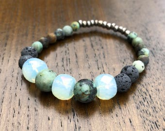 Diffuser Bracelet | African Turquoise + Lava Stone | Stackable Beaded Bracelet | Essential Oil Jewelry |