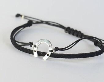 Sterling Silver Horseshoe charm bracelet. Mens bracelet.