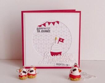 Cadeau d'anniversaire carte + parure collier et boucles d'oreilles cupcakes rouges en Fimo fait-main (personnalisable)