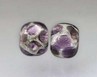 2 Purple beads- Purple lampwork glass beads- Purple glass beads- Purple glass bead pair- Barrel beads Earring pair Sea Rocks Anne Londez SRA