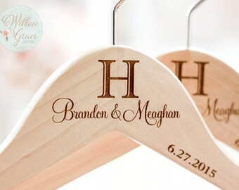 Monogrammed Wedding Gift, Personalized Engraved Bride and Groom Hanger Set