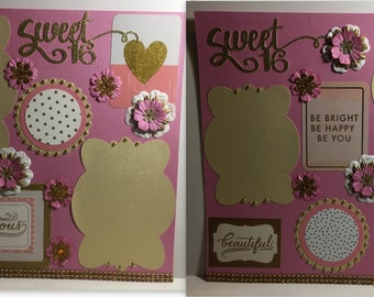 Sweet 16 Premade Scrapbook Layout 2 Pages Pink and Gold