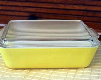 Pyrex 503 Refrigerator Dish with Lid, Pyrex 0503, Yellow, Pyrex 503-C Lid
